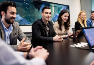 Picture of people having business meeting in conference room